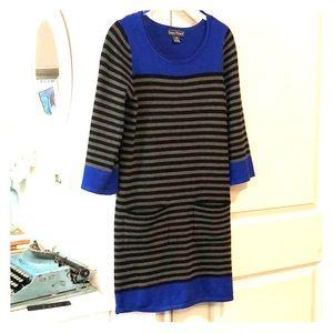 Blue gray stipe dress with pockets